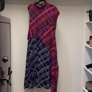 TOPSHOP Asymmetrical Plaid Dress